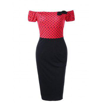 Polka Dot Off The Shoulder Pencil Dress