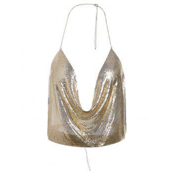 Metal Shimmer Bra Halter Body Jewelry - GOLDEN
