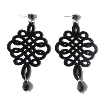 Rhinestoned Chinese Knot Teardrop Earrings