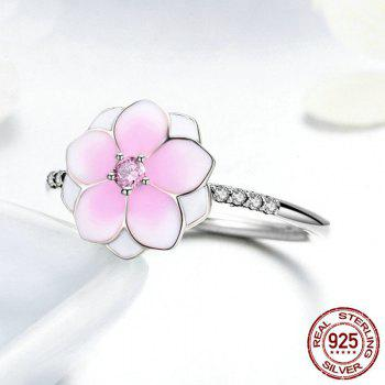 Rhinestone Flower Sterling Silver Ring - PINK 8