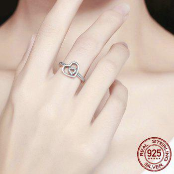 Rhinestone Sterling Silver Double Heart Ring - 6 6
