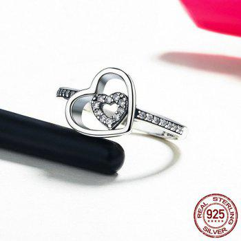 Rhinestone Sterling Silver Double Heart Ring - SILVER SILVER