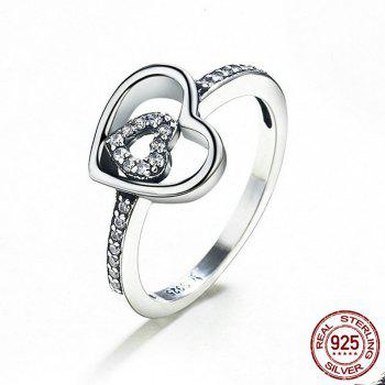 Rhinestone Sterling Silver Double Heart Ring - 7 7
