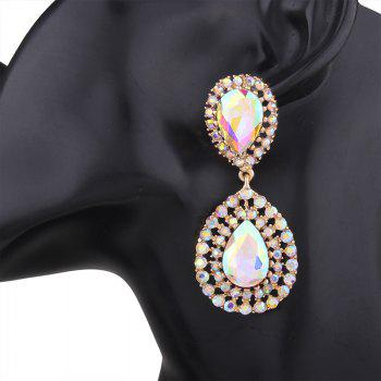 Vintage Artificial Gem Teardrop Dangle Earrings - COLORMIX