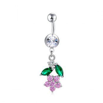 Floral Faux Diamond Embellished Belly Button Jewelry - PINK PINK