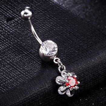 Flower Faux Gem Inlaid Belly Button Jewelry
