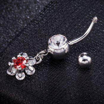 Flower Faux Gem Inlaid Belly Button Jewelry - RED