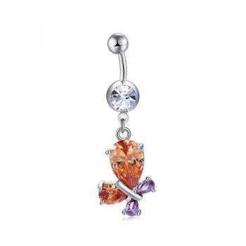 Faux Gem Inlaid Butterfly Design Navel Button