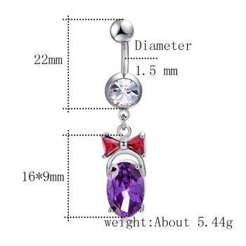 Oval Faux Gemstone Bowknot Inlaid Belly Button Jewelry - PURPLE