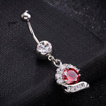 Artificial Gem Inlay Navel Button - BRIGHT RED BRIGHT RED