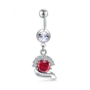 Artificial Gem Inlay Navel Button -  BRIGHT RED