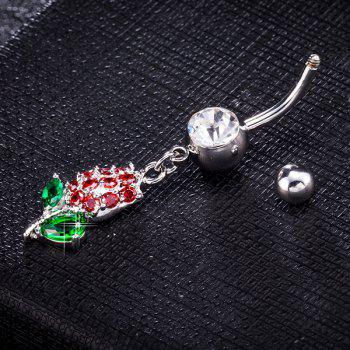 Tulip Design Rhinestone Inlay Belly Button Jewelry - RED/GREEN