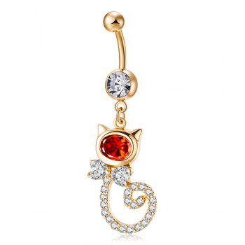 Bouton de nombril en incrustation strass en forme de chat - Rouge