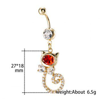 Cat Shape Rhinestone Inlay Navel Button - RED
