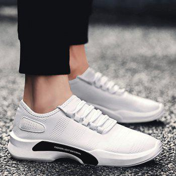 Faux Leather Breathable Tie Up Casual Shoes