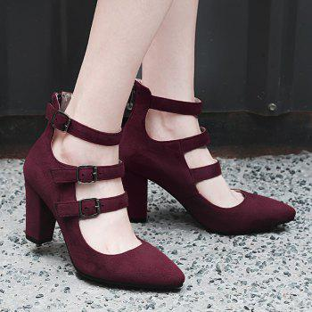 Buckle Straps Zipper Block Heel Pumps