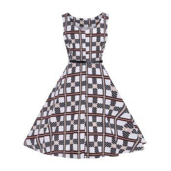 Checked Belted Vintage Dress - CHECKED CHECKED