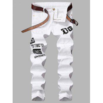 Zipper Fly Straight Leg Graphic Print Ripped Jeans