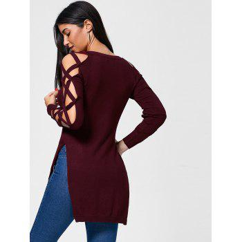 Cutout Slit Criss Cross High Low Sweater - WINE RED M