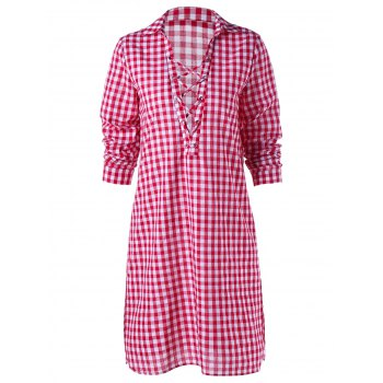 Criss Cross Tartan Print Plunging Shirt Dress