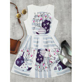 Stripe Floral Print Fit and Flare Dress - WHITE L