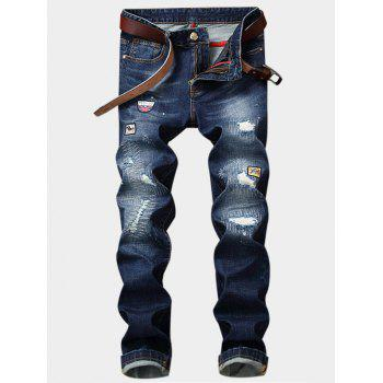 Zipper Fly Straight Leg Appliques Ripped Jeans