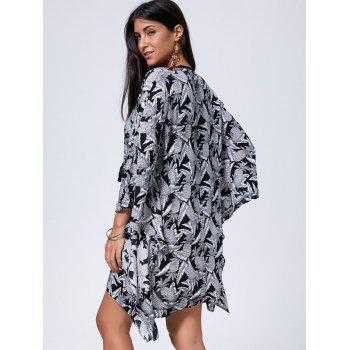 Bohemian Oversized Lace Up Kaftan Dress - BLACK WHITE BLACK WHITE