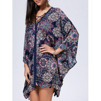 Bohemian Oversized Lace Up Kaftan Dress - COLORMIX L