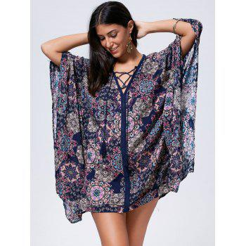 Bohemian Oversized Lace Up Kaftan Dress - L L