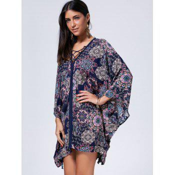 Bohemian Oversized Lace Up Kaftan Dress - COLORMIX M