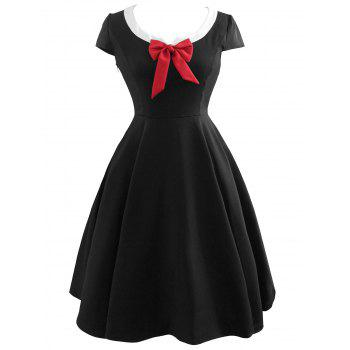 Vintage Bowknot Fit and Flare Dress - BLACK BLACK