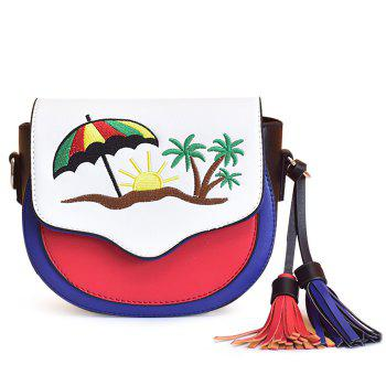 Tassel Color Block Saddle Bag