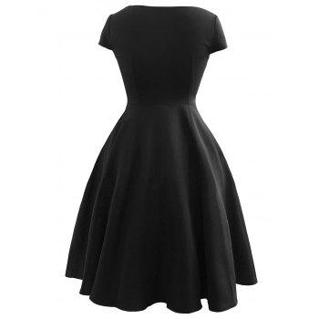 Vintage Bowknot Fit and Flare Dress - BLACK 2XL
