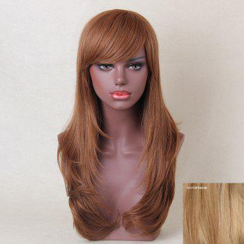 Long Inclined Bang Layered Tail Adduction Straight Human Hair Wig - BLONDE BLONDE
