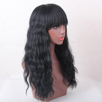 Full Bang Shaggy Natural Wave Long Human Hair Wig -  JET BLACK