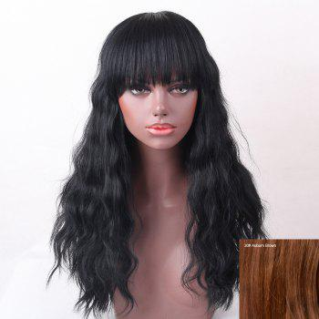 Full Bang Shaggy Natural Wave Long Human Hair Wig - AUBURN BROWN #30 AUBURN BROWN
