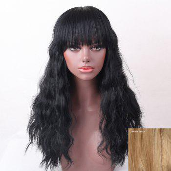 Full Bang Shaggy Natural Wave Long Human Hair Wig - BLONDE BLONDE