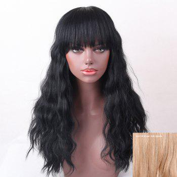 Full Bang Shaggy Natural Wave Long Human Hair Wig - BROWN WITH BLONDE BROWN/BLONDE