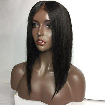 Center Part Medium Straight Bob Lace Front perruque de cheveux humains - Naturel Noir