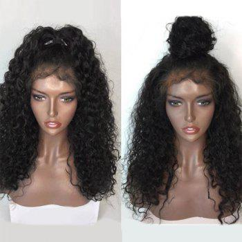 Free Part Shaggy Long Natural Wave Lace Front Human Hair Wig - NATURAL BLACK NATURAL BLACK