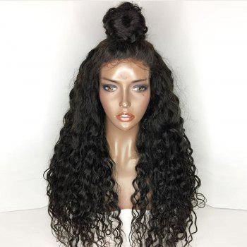 Free Part Shaggy Long Natural Wave Lace Front Human Hair Wig -  NATURAL BLACK