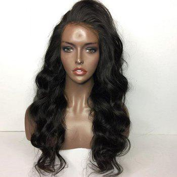 Side Part Shaggy Long Body Wave Lace Front Human Hair Wig - NATURAL BLACK