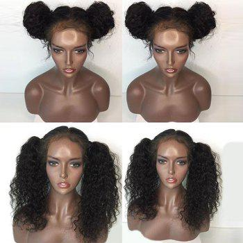 Free Part Water Wave Long Lace Front Human Hair Wig - NATURAL BLACK