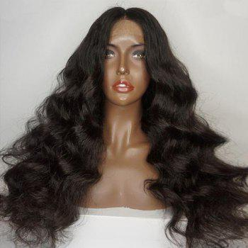 Shaggy Free Part Long Loose Body Wave Lace Front Human Hair Wig - NATURAL BLACK