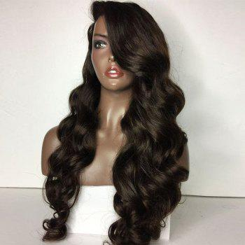 Long Deep Side Part Loose Body Wave Lace Front Human Hair Wig - NATURAL BLACK