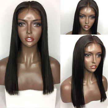 Middle Part Long Straight Lace Front Human Hair Wig - NATURAL BLACK NATURAL BLACK