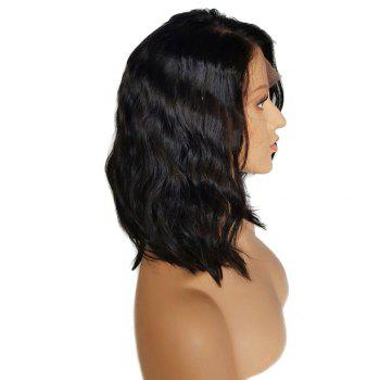 Medium Side Parting Bob Wave Lace Front Human Hair Wig - NATURAL BLACK