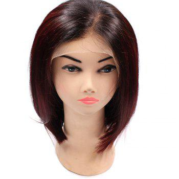 Short Side Part Colormix Straight Bob Lace Front Indian Human Hair Wig - WINE RED WINE RED