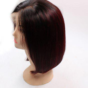 Short Side Part Colormix Straight Bob Lace Front Indian Human Hair Wig -  WINE RED