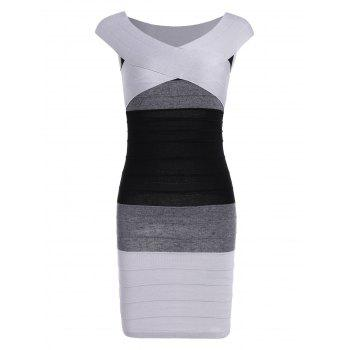 Cape Sleeve Color Block Striped Bandage Dress